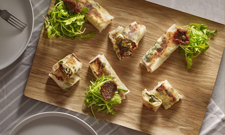 Recette plancha - Brick Chèvre, champignons de paris, épinards