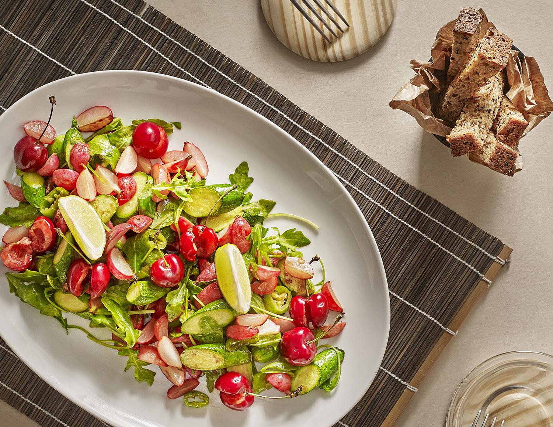 Recette plancha - Poêlée de légumes et quelques cerises